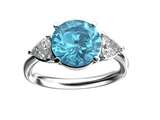 Star K™ Three 3 Stone 8mm Round Genuine Blue Topaz Trillion Engagement Promise Comfort fit Ring style: 317683