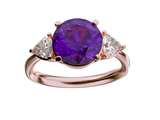 Star K™ Three 3 Stone 8mm Round Genuine Amethyst Trillion Engagement Promise Comfort fit Ring style: 317736