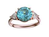 Star K™ Three 3 Stone 8mm Round Genuine Blue Topaz Trillion Engagement Promise Comfort fit Ring style: 317755