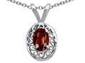 Tommaso Design™ Genuine Garnet Oval 6x4mm Pendant Necklace
