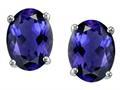 Tommaso Design™ Oval 8x6 mm Genuine Iolite Earrings Studs