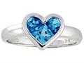 Tommaso Design™ Genuine Blue Topaz Invisible Set Heart Ring