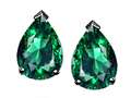 Tommaso Design™ Pear Shape 8x6mm Simulated Emerald Earrings Studs