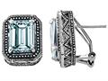 Star K™ 925 Bali Style Genuine Emerald Cut Aquamarine Earrings