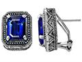 Star K™ Bali Style Emerald Cut Created Sapphire Earrings