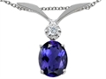 Tommaso Design™ Oval 7x5mm Genuine Iolite Pendant Necklace
