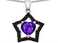 Star K™ Heart Shape Genuine Amethyst and Black Star Pendant Necklace