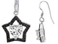 Star K™ 925 Heart Shaped Genuine Cubic Zirconia Black Star Hanging Hook Earrings