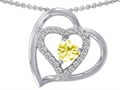 Star K™ Genuine Heart Shape Lemon Quartz Pendant Necklace