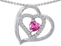 Star K™ 6mm Heart Shape Created Pink Sapphire Pendant Necklace
