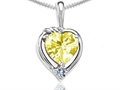 Tommaso Design™ Heart Shape Genuine Lemon Quartz Pendant Necklace