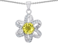 Star K™ Round Genuine Lemon Quartz Flower Pendant Necklace