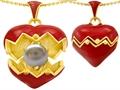 Original Star K™ Puffed Red Enamel Heart Pendant with June Birthstone Genuine 7mm Pearl Surprise Inside