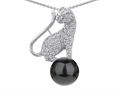 Star K™ Cat Pendant Necklace With 7mm Black Simulated Pearl