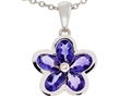 Tommaso Design™ .85 inch long Flower Pendant Necklace made with one Diamond and Genuine Pear Shape Iolite.