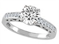 Tommaso Design™ Genuine White Topaz Solitaire Engagement Ring