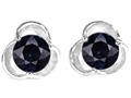 Star K™ Round 6mm Genuine Black Sapphire Flower Earrings Studs