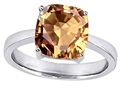 Star K™ Large 10mm Cushion Cut Solitaire Ring With Simulated Imperial Yellow Topaz