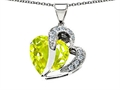 Star K™ Heart Shape 12mm Simulated Lemon Quartz Pendant Necklace