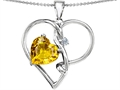 Star K™ Large 10mm Heart Shaped Simulated Yellow Sapphire Knotted Pendant Necklace