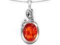 Star K™ Loving Mother With Child Family Pendant Necklace With Oval 11x9mm Simulated Mexican Fire Opal