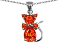 Star K™ Cat Pendant Necklace With Simulated Mexican Fire Opal