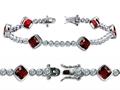 Star K™ High End Tennis Bracelet With 6pcs 7mm Cushion Cut Genuine Garnet