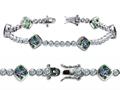 Original Star K™ High End Tennis Bracelet With 6pcs 7mm Cushion Cut Rainbow Mystic Topaz