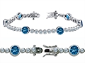Original Star K™ High End Tennis Bracelet With 6pcs 6mm Round Simulated Blue Topaz