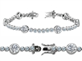 Original Star K™ High End Tennis Bracelet With 6pcs 6mm Genuine Round White Topaz
