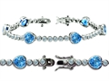 Original Star K™ High End Tennis Bracelet With 6pcs 7mm Heart Shape Simulated Blue Topaz