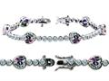 Original Star K™ High End Tennis Bracelet With 6pcs 7mm Heart Shape Rainbow Mystic Topaz