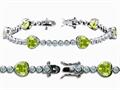 Star K™ High End Tennis Bracelet With 6pcs 7mm Genuine Heart Peridot