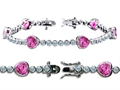 Star K™ High End Tennis Bracelet With 6pcs 7mm Heart Shape Created Pink Sapphire