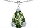Star K™ Large 11x17 Pear Shape Simulated Green Sapphire Designer Pendant Necklace