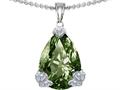 Original Star K™ Large 11x17 Pear Shape Simulated Green Sapphire Designer Pendant