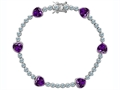 Star K™ Classic Heart Shape Genuine Amethyst Tennis Bracelet In