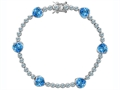 Star K™ Classic Heart Shape 7mm Simulated Blue Topaz Tennis Bracelet