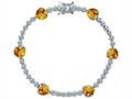 Star K™ Classic Heart Shape Genuine Citrine Tennis Bracelet In