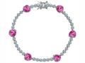 Star K™ Classic Heart Shape 7mm Created Pink Sapphire Tennis Bracelet