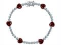 Star K™ Classic Heart Shape 7mm Genuine Garnet Tennis Bracelet
