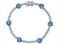 Original Star K™ Classic Heart Shape 7mm Simulated Aquamarine Tennis Bracelet