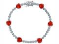 Star K™ Classic Heart Shape 7mm Simulated Mexican Fire Opal Tennis Bracelet