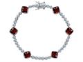 Star K™ Classic Cushion Cut 7mm Genuine Garnet Tennis Bracelet
