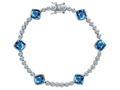 Star K™ Classic Cushion Cut 7mm Simulated Blue Topaz Tennis Bracelet
