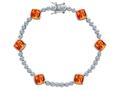 Star K™ Classic Cushion Cut 7mm Simulated Mexican Fire Opal Tennis Bracelet