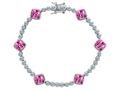 Star K™ Classic Cushion Cut 7mm Created Pink Sapphire Tennis Bracelet