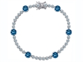 Star K™ Classic Round 6mm Simulated Blue Topaz Tennis Bracelet