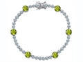 Star K™ Classic Round 6mm Genuine Peridot Tennis Bracelet