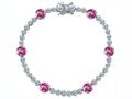 Star K™ Classic Round 6mm Created Pink Sapphire Tennis Bracelet